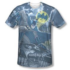 Batman Gotham Gargoyle Bat Call Signal Sublimation ALL OVER Vintage T-shirt top Available In Sizes:Small, Medium, Large, XL, 2XL #Batman #BruceWayne #TheDarkKnight #DCComics #TheCapedCrusader #BatLogo #BatSignal #JusticeLeague #GothamCity #BatmanTshirt