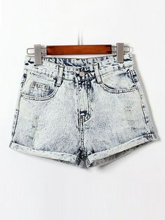 Hot 2014 Summer Spring New Fashion Casual High Waist Sexy Slim Cuffs Bleached Cotton Women Jeans Denim Shorts Shorts Jeans, Denim Jeans, Curling, Denim Fashion, Women's Summer Fashion, New Fashion, Fashion Women, Jean Court, Distressed High Waisted Shorts