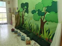 Wall decal ideas for yoga room Forest Classroom, Jungle Theme Classroom, Jungle Theme Parties, Jungle Theme Birthday, Classroom Walls, Safari Theme, Classroom Displays, Classroom Decor, Safari Decorations