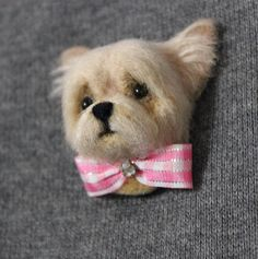***READY TO SHIP*** ** free shipping to any country Brooch made of wool dog Yorkshire Terrier puppy, 4,5 centimeters in height, Authors manual work, made of 100% wool by dry felting. Thanks for visiting my shop! https://www.etsy.com/ru/shop/ARTfeltingShop