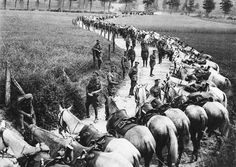 Members of the Royal Scots Greys cavalry regiment rest their horses by the side of the road, in France