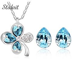 New leaf clover water tear drop jewelry set  white Gold plated pendant necklace earrings fashion sets joyeria 9551