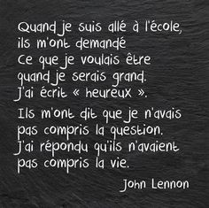 Quotes and inspiration QUOTATION - Image : As the quote says - Description John Lennon. John Lennon, Best Quotes, Love Quotes, Inspirational Quotes, Quotes Quotes, Dont Be Normal, Quote Citation, French Quotes, Some Words