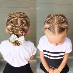 Criss criss braids and a messy bun. Toddler hair style