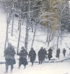 American reinforcements advancing in snow covered steeply wooded Ardennes terrain.