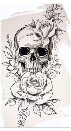 Pretty Skull Tattoos, Floral Skull Tattoos, Skull Thigh Tattoos, Tatto Skull, Skull Tattoo Flowers, Skull Tattoo Design, Tattoo Design Drawings, Tattoo Sketches, Cute Tattoos