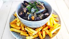 Moules et Frites   Da Cipriano  #moulesetfrites #mussels #seafoodrecipes #dacipriano #alessandrocipriano Saffron Threads, Fish Stock, Peanut Oil, Dry White Wine, Frying Oil, Peeling Potatoes, Creme Fraiche, Mussels, Large Bowl