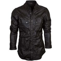 Caden mens leather shirt ($219) ❤ liked on Polyvore featuring men's fashion, men's clothing, men's shirts, men's casual shirts, mens leather button up shirt, mens slim fit crew neck t shirts, mens slim fit casual shirts and mens button up shirts