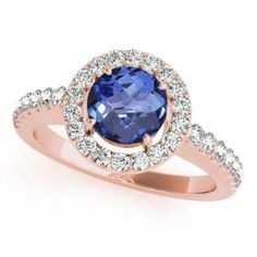 Get this .78ct Round Tanzanite Ring With .208ctw Diamonds in 14k Rose Gold online at toptanzanite.com for just $945.99.