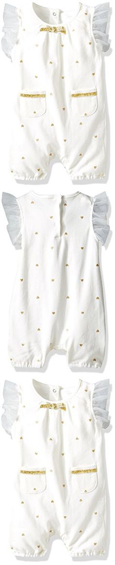 Rene Rofe Baby Girls' 1 Piece Rear Snap Romper, Hearts of Gold, 0-3 Months