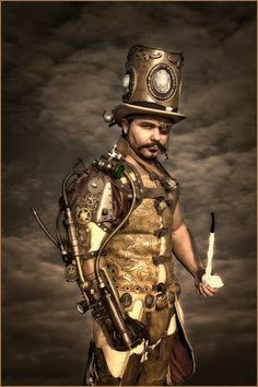 Steampunk Villain Cosplay  (mens clothing, top hat, pipe, eyepatch, steam-powered arm)