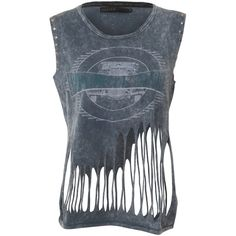 Crafted Slash Roadkill Vest (105 BRL) ❤ liked on Polyvore featuring tops, shirts and tanks