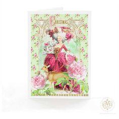 Marie Antoinette Christmas card deer reindeer pink by mulberrymuse