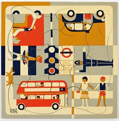 """12"""" wooden London scene jigsaw puzzle, designed by Fredun Shapur, marked Made In Holland, United Kingdom, 1965-70, by Galt Toys, imported and sold exclusively in the United States by Creative Playthings."""