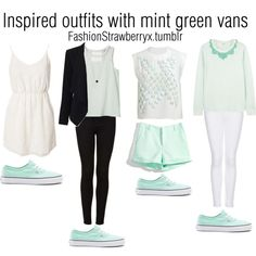 Inspired outfits with mint green vans