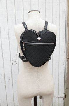 VIntage 90's Mini Backpack Purse Black Quilted Heart by kerrilendo