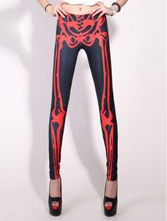 Skeleton Pattern Slimmed Legging