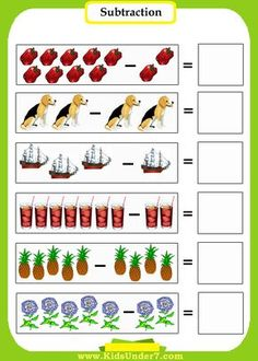 Subtraction Worksheets For Kindergarten With Pictures Math Subtraction Worksheets, Printable Math Worksheets, Kids Math Worksheets, Preschool Printables, Subtraction Kindergarten, Kindergarten Math Activities, Preschool Math, Math Classroom, Material Didático
