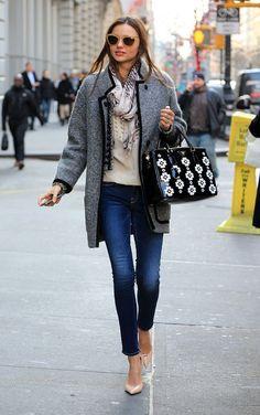 Miranda Kerr does winter layering right.