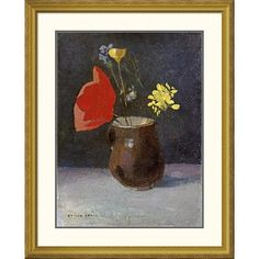 Global Gallery 'A Pitcher of Flowers' by Odilon Redon Framed Painting Print Size: