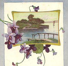 Purple Violets and Riverside Scene on unused by TheOldBarnDoor, $4.00