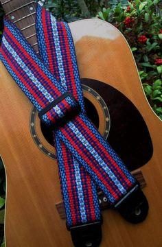 "Handwoven Guitar Strap, Colorful ""California Garter Snake"" , Comfortable Cotton, Adjustable, Leather Ends"