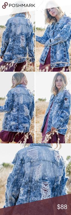"""Distressed Jean Jacket ❕COMING THIS SEPTEMBER❕ Distressed blue denim jean jacket. Side buttons, button cuffs, loose fit. 🔸This is not Free People, but is very close to the style.   * Before asking, please note whatever sizes are listed below are all I currently have in stock.   ▫️Add to Bundle"""" to add more items in my closet or """"Buy"""" to checkout here with your size.  ↓Follow me on Instagram ↓         @ love.jen.marie Jackets & Coats Jean Jackets"""