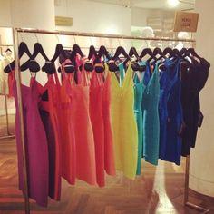 A rainbow of bandage dresses!  All time favorite designer Herve Leger