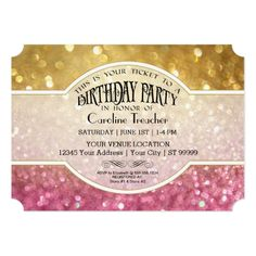 gold glitter and pink sprinkle baby shower card | sprinkles, baby, Baby shower invitations