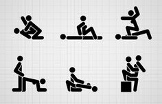 Truth designed sexual pictograms for the Durex Spice Dice App inspired by Otl Aicher's Olympic pictograms.