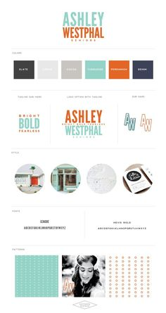 I planned on sharing this one with you a couple months ago, but got lost in the shuffle! So, today I wanted to introduce the new branding for Ashley Westphal Photography! She wanted to keep her overall color palette similar to the original with orange and turquoise, then pairing it with the navy and greys. I knew I would love this project the moment I saw Ashley's pinterest board, full of bold colors, white space, and a post-modern style (my favorite). We started withe the inspiration…