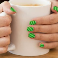 #pretty - #Neon Green and Diagonal Stripes Minx Nail Wraps