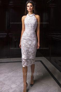 Sheath/Column Jewel Tea-length Lace Mother of the Bride Dress