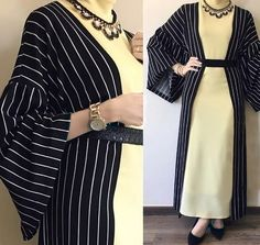 Affordable prices on new tops, dresses, outerwear and more. Abaya Fashion, Muslim Fashion, Modest Fashion, Fashion Dresses, Casual Hijab Outfit, Hijab Chic, Hijab Dress, Striped Cardigan, Mode Abaya