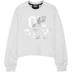 Markus Lupfer Oh Boy embellished cotton sweatshirt (3 205 UAH) ❤ liked on Polyvore featuring tops, hoodies, sweatshirts, light gray, loose fit tops, sweat shirts, crop top, markus lupfer and loose fitting crop tops