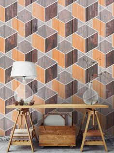 Wood Cubes - Textured Vinyl Wallpaper on non-woven base. Washable. Removable. Safety&Eco   Wall decor, pattern, wood texture imitations
