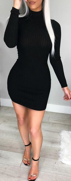 #winter #outfits black knitted turtleneck long-sleeved mini dress