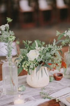 Fresh herbs and foliage mixed with romantic white roses are the perfect mix for an Al-fresco family style evening #cedarwoodweddings Magical Provincial Inspired Cedarwood Wedding | Cedarwood Weddings