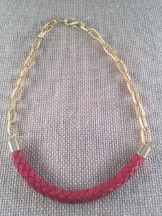 Red Leather Braided Bolo Cord Necklace 22K by ANIKjewelry on Etsy