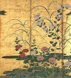 Detail. Flowers and Grasses of the Four Seasons. Circle of Kano Misunobu. Momoyama period, late 16th century. Pair of six-panel Japanese folding screens.