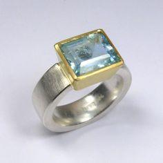 Ring, Silber 925/-, Gold 750/-, Aquamarin, rechteckig facettiert