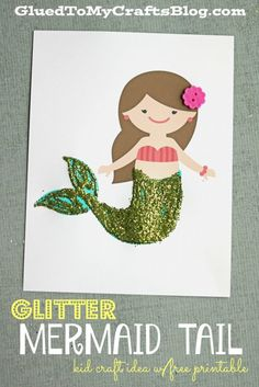 Glitter Mermaid Tail - Kid Craft Idea w/free printable template