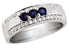 10K White Gold Blue Sapphire & Diamond Fashion Ring | Charm Diamond Centres