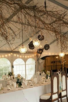 Ceiling decoration: lights in branches