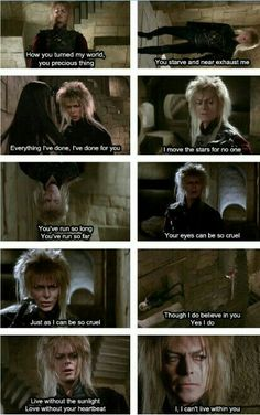 A beautiful song and Bowie sung it with every ounce of feeling he could. In fact if you watch the movie closely you can see the moment Jareth's heart. I cried so much. David Bowie Labyrinth, Labyrinth 1986, Labyrinth Movie, Labrynth, Goblin King, Kino Film, Fandoms, The Dark Crystal, Fanart