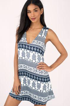 Alexia Print Plunging Shift Dress at Tobi.com #shoptobi