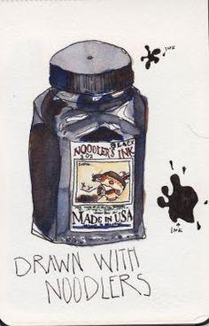 Sketching with Noodler's Black Bulletproof Ink
