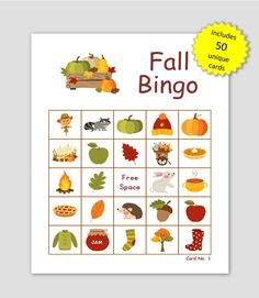 Fall Picture Bingo, 50 Cards, prints 1 per page, immediate pdf download, fall memory cards Halloween Bingo Cards, Custom Bingo Cards, Bingo Board, Bingo Games, Memory Games, Fall Pictures, Unique Cards, I Am Game, Paper Size