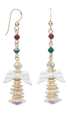 Angel Wing Earrings with White Pewter Beads, Swarovski Crystal Beads and Vermeil Beads by Esther Pollock.
