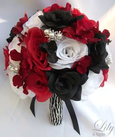 Black white red roses bridal bouquet bridesmaid silk wedding flowers 17 piece package wedding bridal bride maid honor bridesmaid bouquet boutonniere corsage silk flower red black zebra lily of angeles rebk08 mightylinksfo Images